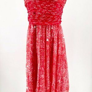 WDNY Womens Lace Tube Dress Red Floral Silk L